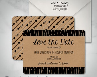 Save The Date | Modern Woodsy Faux Bois Wedding