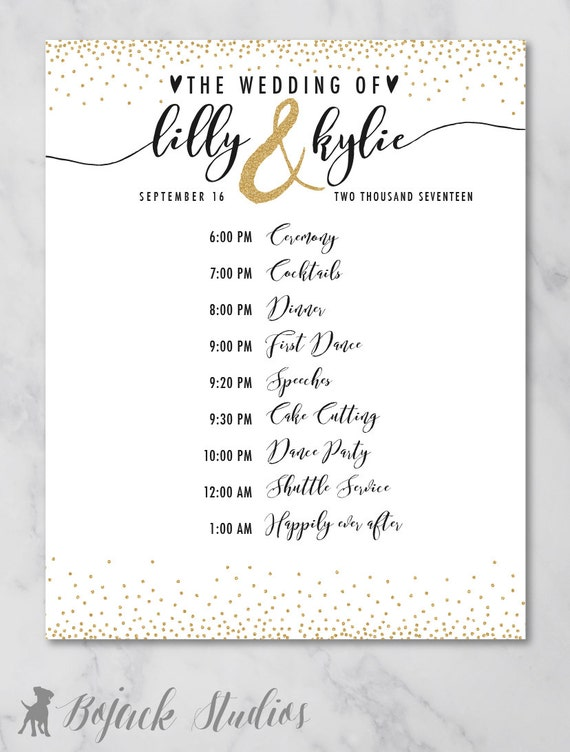 kylie wedding schedule poster wedding order of events