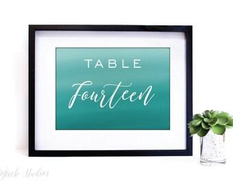 "Wedding Table Numbers   Digital Download   Table Numbers 1-20   Printable Wedding Table Number   5x7"" Table Number Cards   RACHEL Watercolor"