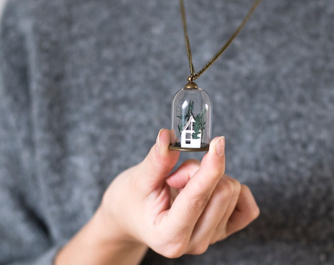 Paper greenhouse glass bell necklace