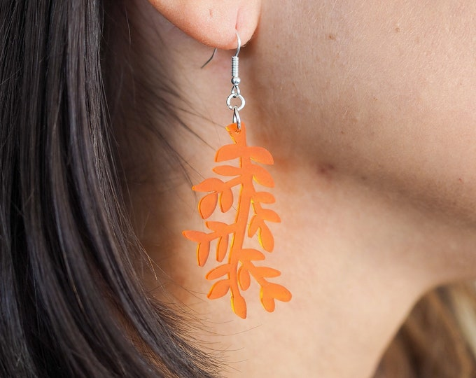Leaf acrylic drop earring, botanical orange earring
