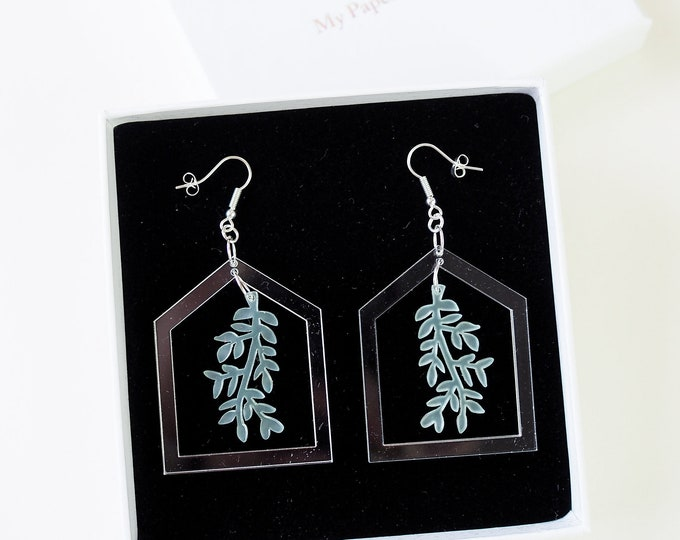 Botanical acrylic greenhouse clear earring