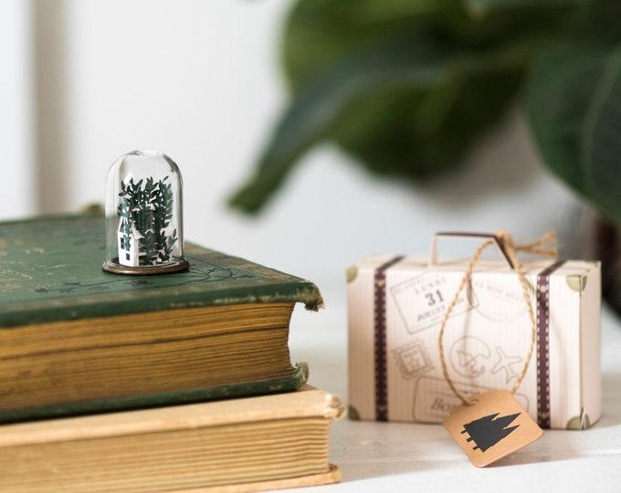 Mini paper greenhouse ornament, paper terrarium