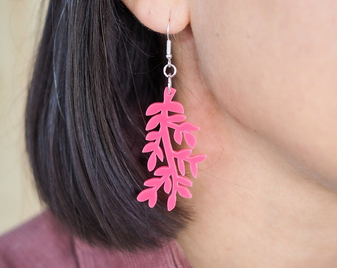 Acrylic leaf perspex drop earring