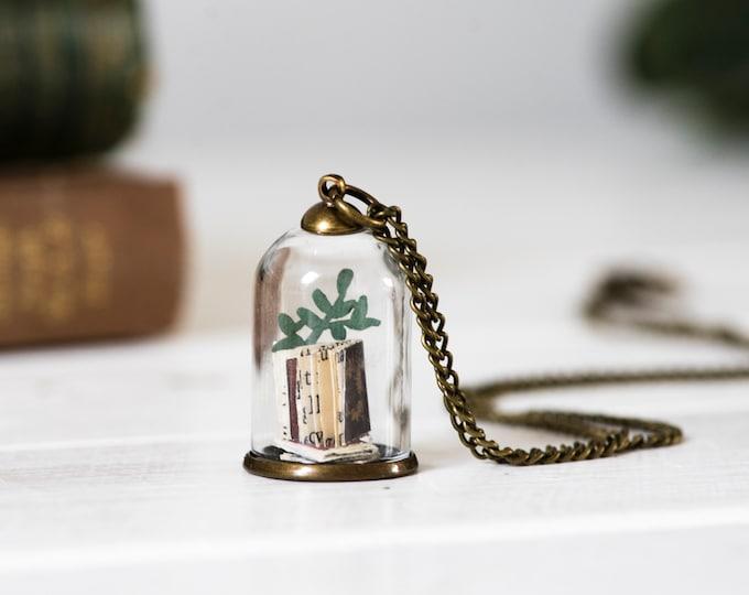 Paper library necklace, handmade mini book pendant