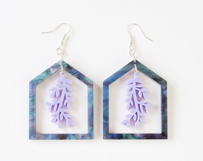 Acrylic purple greenhouse earring, botanical dangle earring