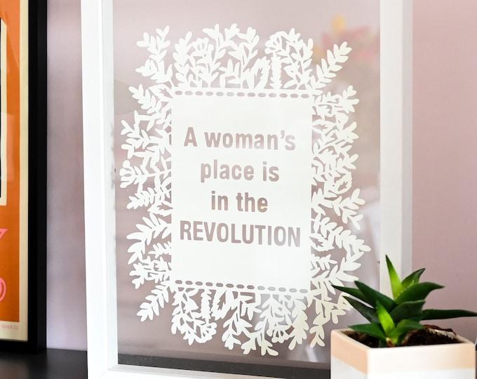 Women in the revolution framed paper art, inspirational feminist paper cut