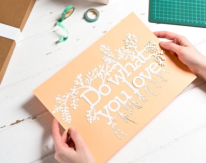Positive affirmation DIY paper cutting kit, adult craft kit, mindful gift