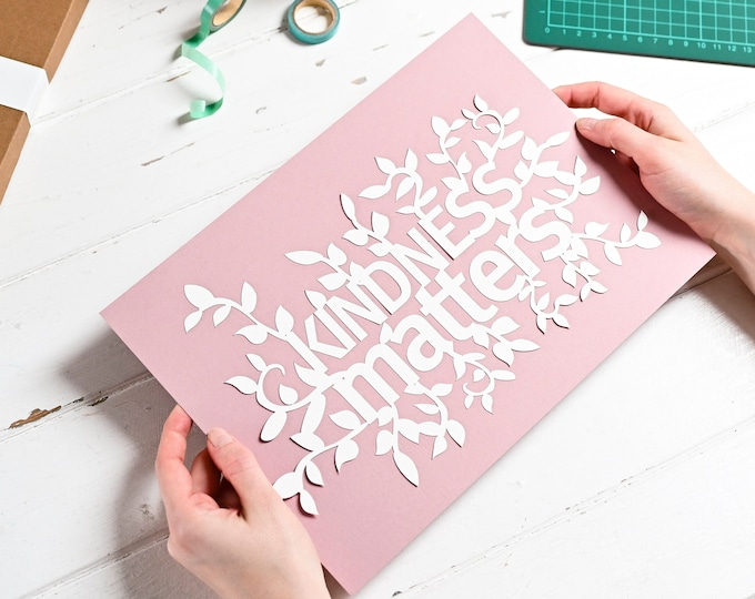 Adult paper cutting kit, positive affirmation DIY craft kit, kindness matters