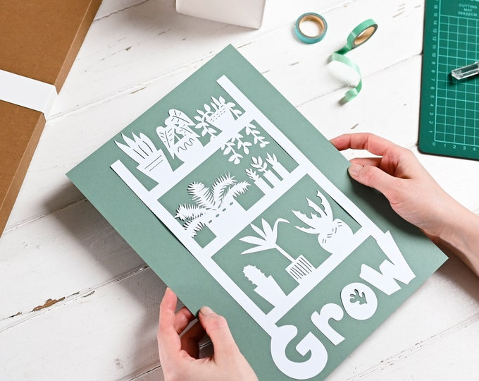 Paper craft downloadable pattern, papercutting plant template