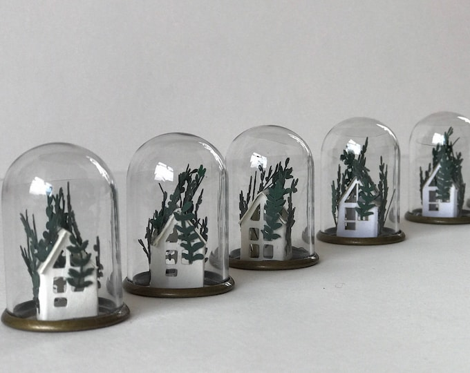 Paper greenhouse mini ornament, paper terrarium