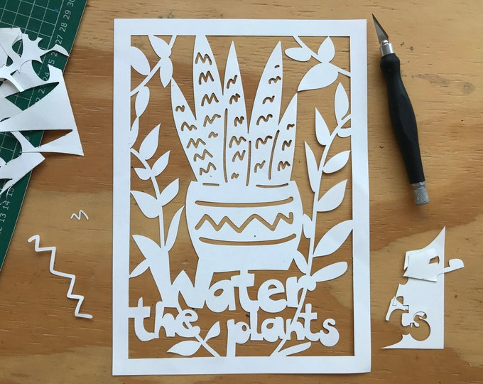 Paper cutting plant template