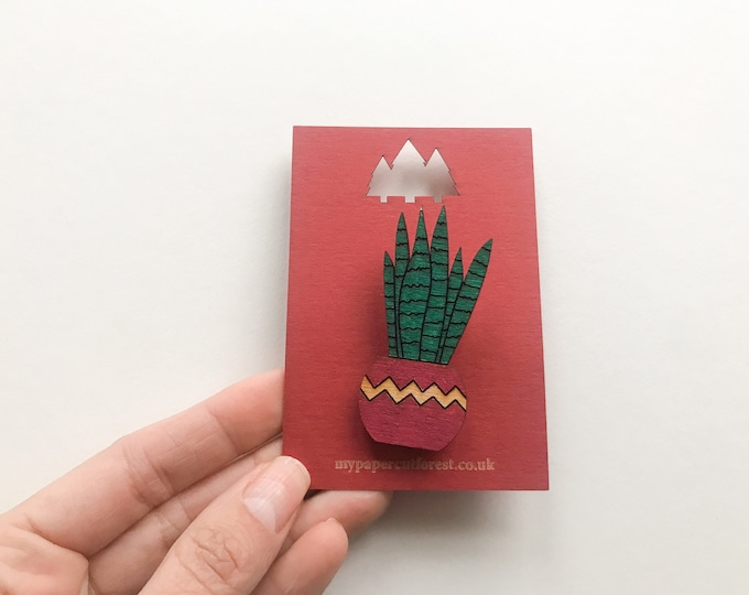 Plant sansevieria pin badge