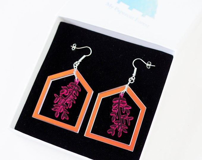 Acrylic botanical pink drop earring
