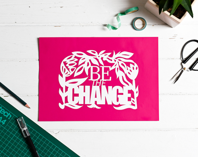 DIY paper cutting craft kit, positive affirmation paper cutting kit, mindful relaxation gift, be the change