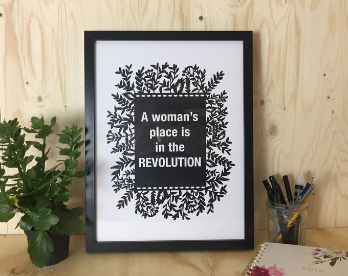 Feminist women power black and white print