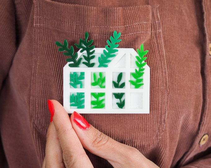 Greenhouse acrylic brooch, botanical perspex pin badge