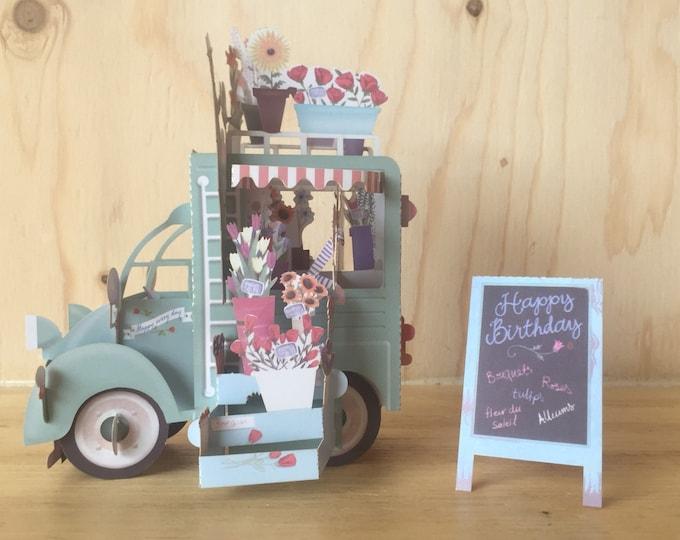 Birthday pop up card, Flower 3D Pop-Up Card,