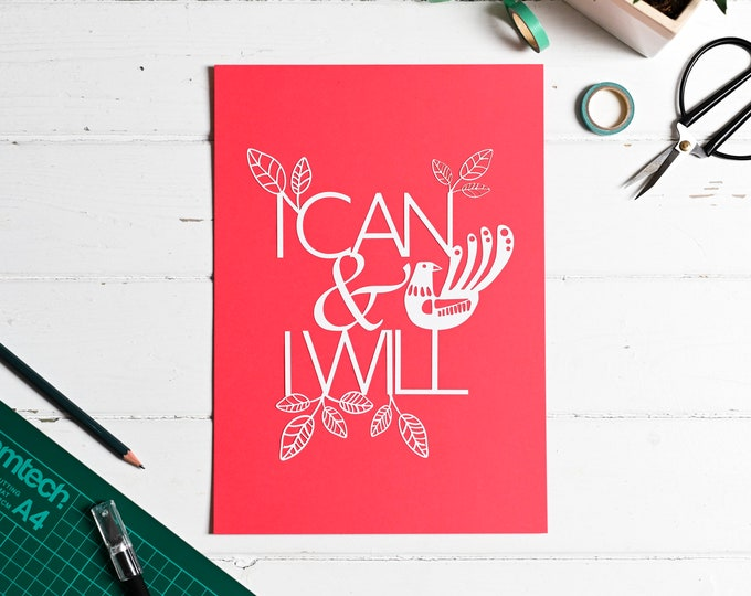 Beginner Paper cutting craft kit, I can and I will, positive affirmation DIY paper craft kit