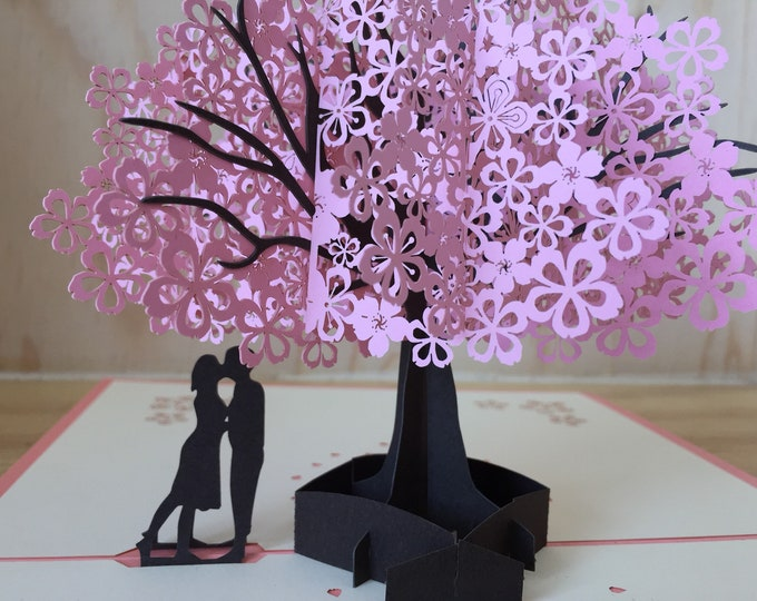 Romantic pop up card, tree 3D pop up anniversary greeting card