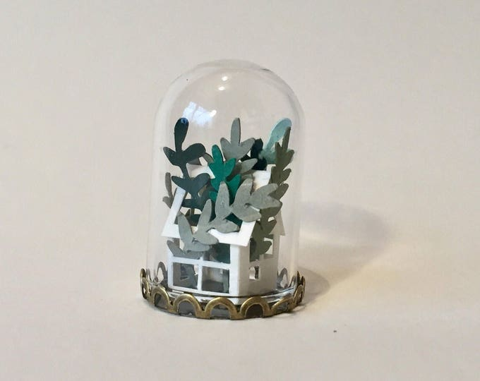 Featured listing image: Greenhouse Terrarium Necklace, Glass and Paper Necklace, Paper Anniversary Gift, Paper Art