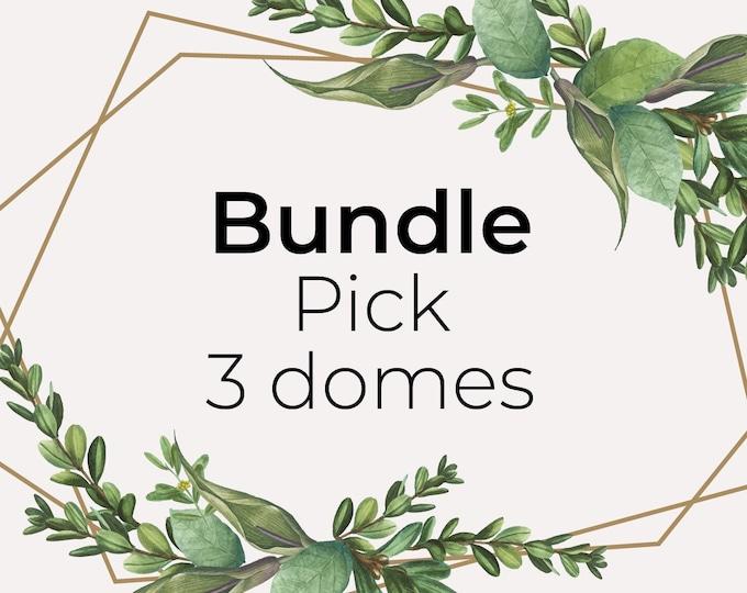 Bundle pick 3 domes, miniature paper art