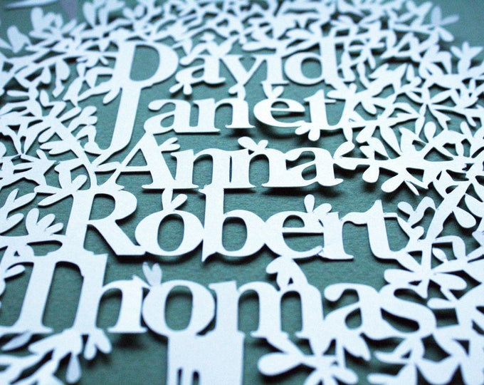 Family tree personalised paper cutting