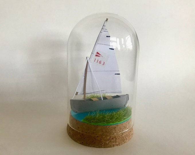 Nautical personalised paper boat, nautical paper boat sculpture