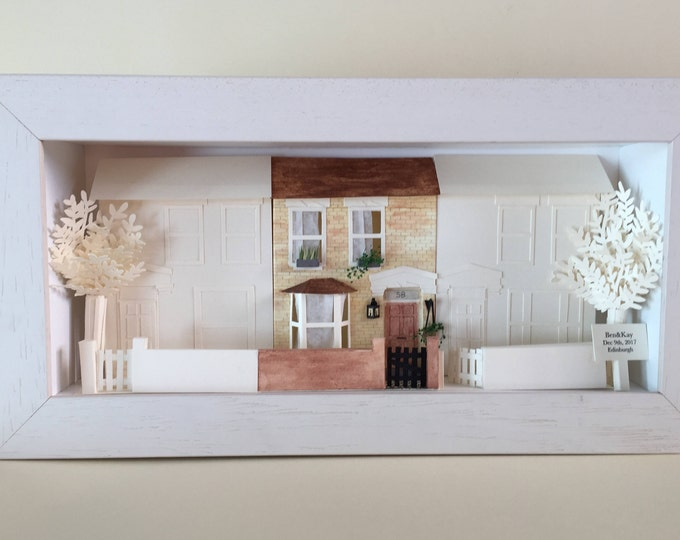 Personalised house portrait, paper house model