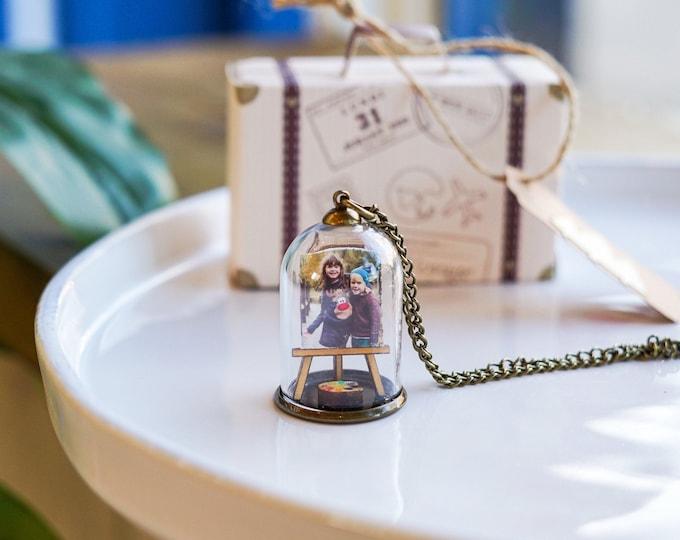 Personalised portrait necklace, family photo pendant