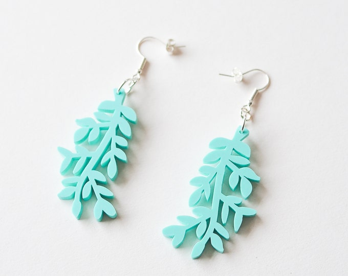 Acrylic mint leaf earring, botanical statement earring