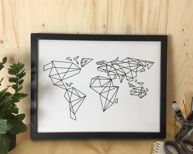 World geometrical map poster