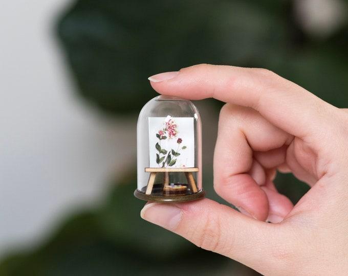 Birth flower miniature art necklace