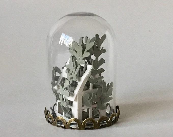 Miniature paper green house, paper art ornament