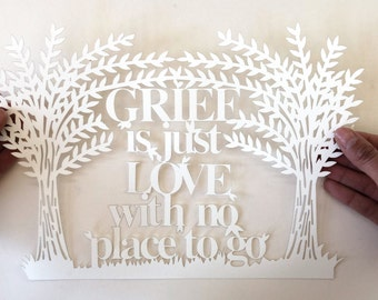 Paper cutting template grief is just love with no place to go, positive affirmation pattern