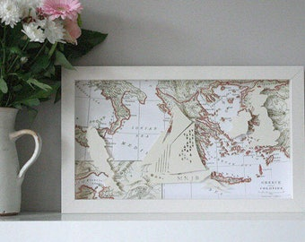 Handmade Wedding/Anniversary Papercut, Wedding Map Art, Gift for Her, Anniversary paper gift, Personalised Gift Sailing Boat, Antique map