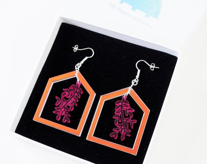 Acrylic botanical pink drop earring