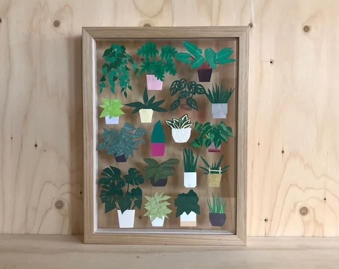 Paper plant framed art, botanical paper art, handmade paper art