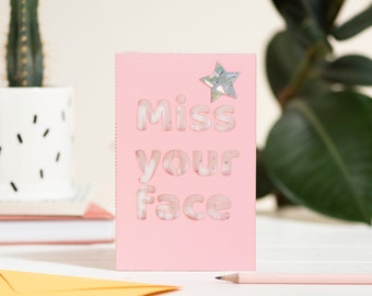 Miss your face eco seed card, thinking of you eco laser cut card
