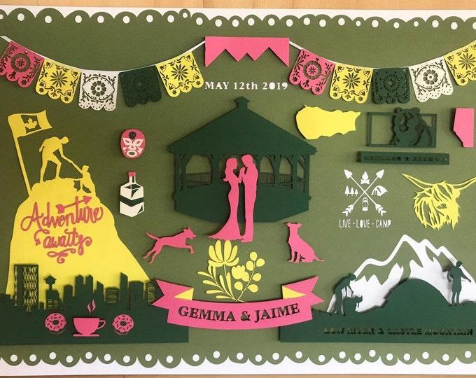 Personalised wedding paper art, framed anniversary paper gift, paper art