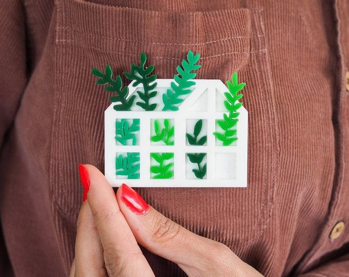 Acrylic brooch green house, botanical perspex pin badge