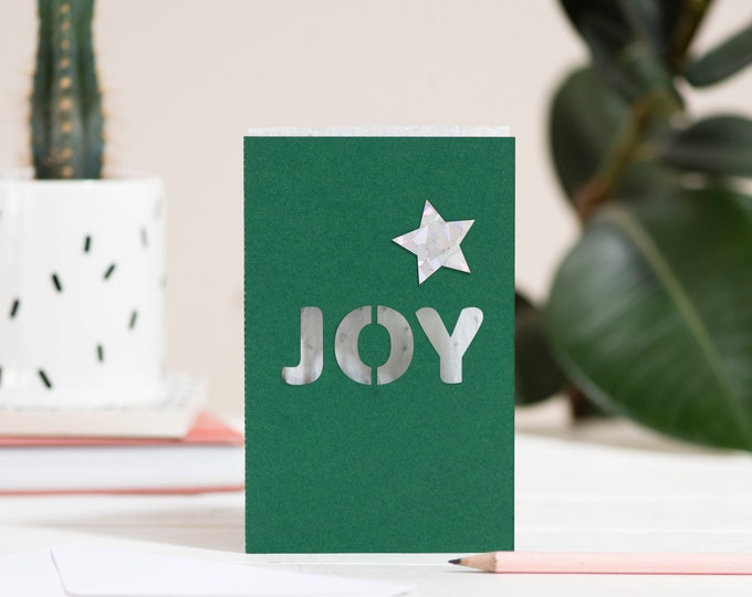 Joy eco seed card, Christmas eco seed paper, laser cut card