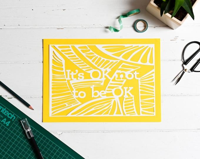Mindful paper cutting kit, positive affirmation DIY craft kit