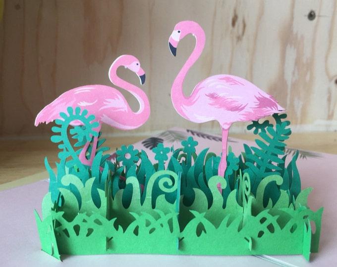 Flamingo pop up greeting card, anniversary greeting card