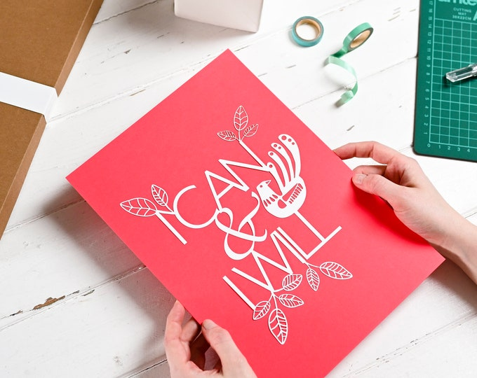 Paper cutting template I can and I will, positive affirmation pattern