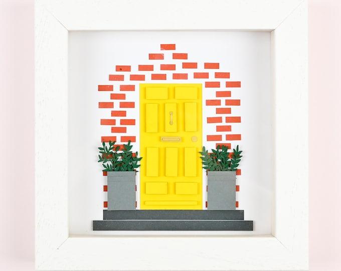 Home paper art framed sculpture, Front door personalised paper art