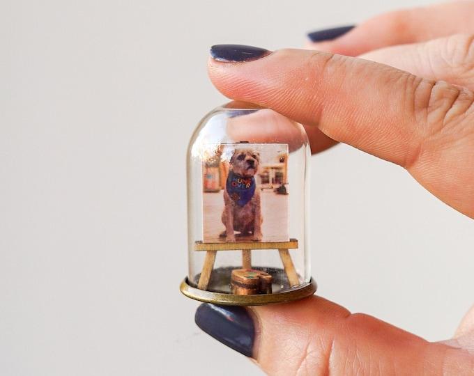 Pet portrait miniature ornament, personalised pet photo miniature
