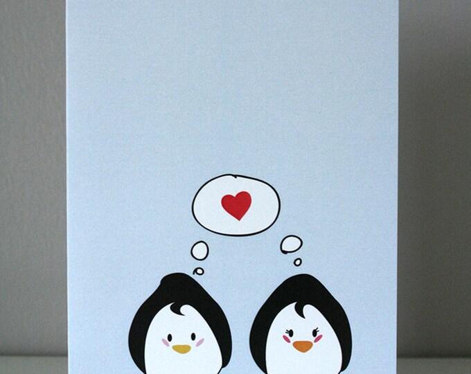 Penguin love illustrated card