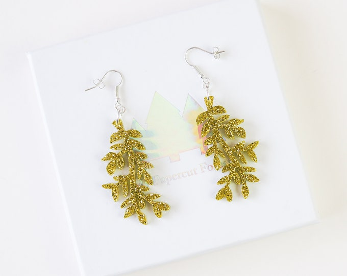Acrylic leaf glitter earring, botanical drop earring