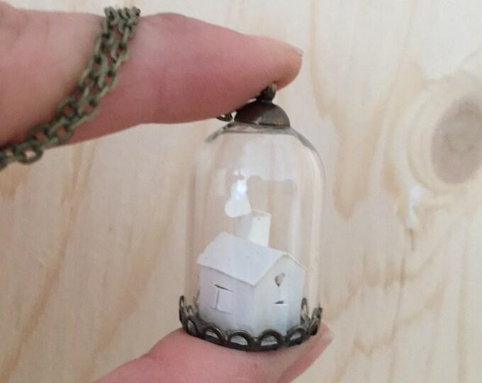 Miniature paper house necklace, house necklace